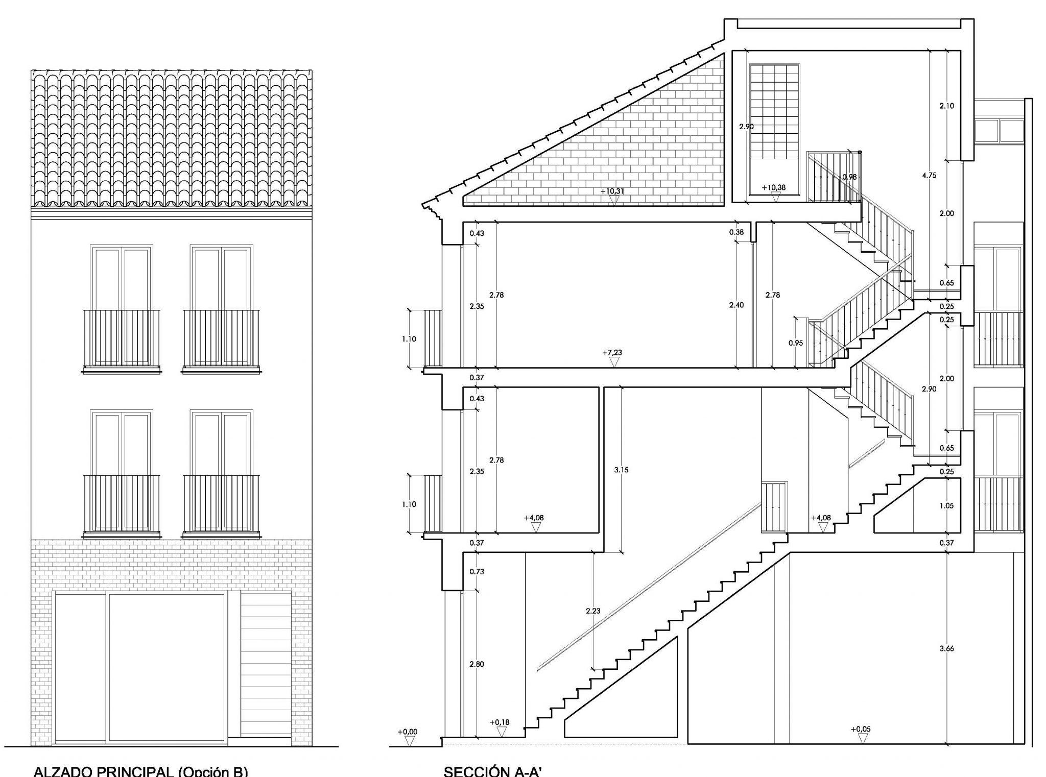 Alzado obra calle Polvillo de Cantillana - Estudio Honorio Aguilar