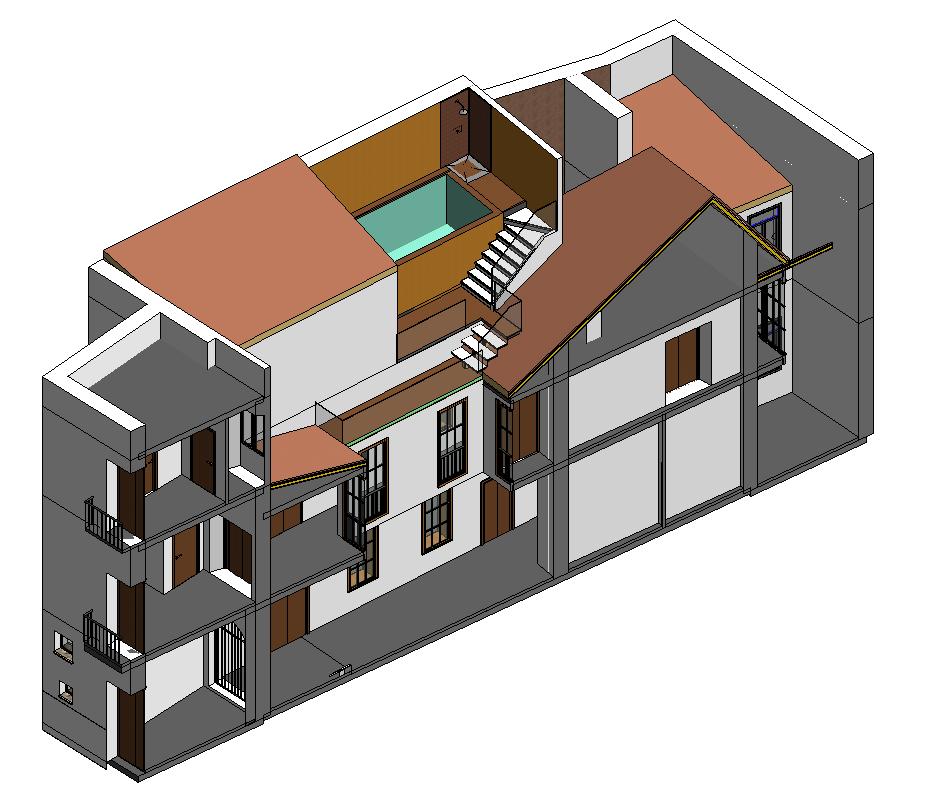 Piscina uso particular en rehabilitación de vivienda unifamiliar en el barrio de La Magdalena, Sevilla.